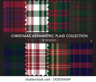 Christmas Asymmetric Plaid seamless pattern collection includes 8 designs for fashion textiles and graphics