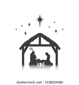 Christmas, baby Jesus in the manger with Mary and Joseph, vector