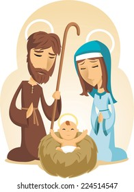 Christmas Baby Jesus Nativity with virgin Mary and Father Joseph vector illustration cartoon.