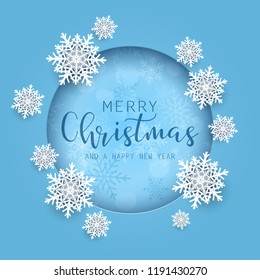 Christmas backgorund with 3d style snowflakes and decorative text