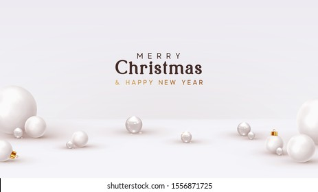 Christmas background, with 3d white balls, glass spheres, round shapes. Minimal Abstract Xmas design. vector illustration