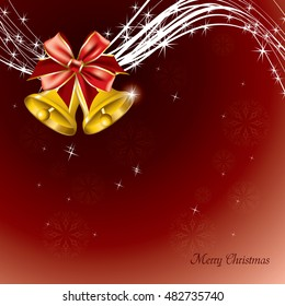 Christmas Background. Abstract Red Illustration with Christmas Bells.
