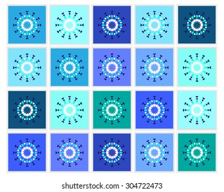 Christmas background, backdrop, poster with many blue cards with simple snowflakes