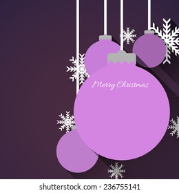 christmas background with christmas ball and snowflakes, flat design