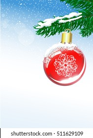 Christmas background with ball and spruce branch