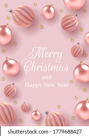 Christmas background with Christmas balls of pearl, a spiral balls on a pink vertical background.  Vector illustration