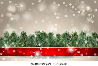 Christmas background. Banner with detailed christmas tree and red rinnon. Realistic fir tree border. Vector New Year design for christmas cards, banners, flyers, party posters, headers.