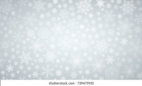 Christmas background of big and small snowflakes, white on gray