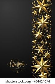 Christmas Background with Border of Gold Stars and Beads