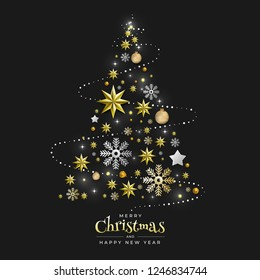 Christmas Background with Border made of Cutout Gold Foil Stars and Silver Snowflakes. Chic Xmas Greeting Card and Happy New Year design. Vector illustrate.