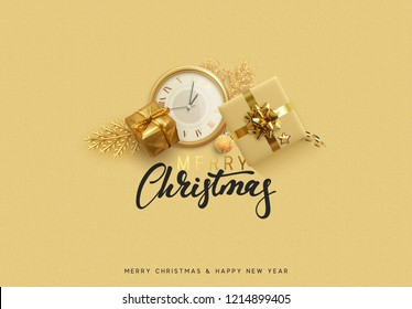 Christmas background. Bright golden decorations. Xmas greeting card. Happy New Year. Festive objects gold gifts, bauble balls, shiny snowflake, old watches and tinsel