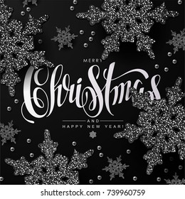 Christmas background with Calligraphic Inscription and Glittery Snowflakes