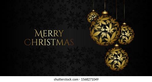 Christmas Background with cannabis Christmas ball vector illustration