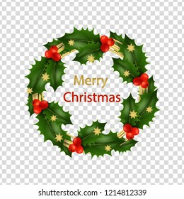 Christmas background, card with holly wreath and asterisks isolated on transparent background. Christmas greeting. Vector realistic illustration. EPS10