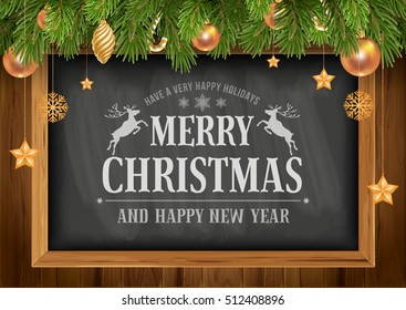 Christmas background with chalkboard in wooden frame with painted holiday typography and decorated fir tree. Vector stock illustration