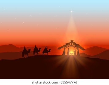Christmas background with Christian theme, shining star and birth of Jesus, illustration.