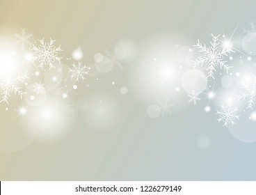Christmas background concept design of white snowflake and snow with bokeh vector illustration