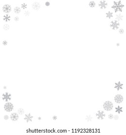 Christmas background corners with snowflakes and place for text. Winter silver snow minimal decoration on white, greeting card. New Year Holidays backdrop. Vector illustration EPS 10