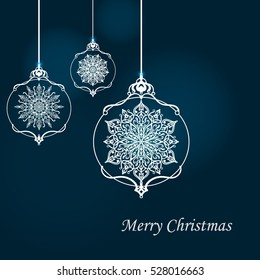 Christmas background with Cristmas balls and snowflakes
