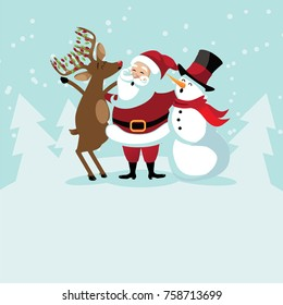 Christmas background with cute cartoon characters caroling. Santa Claus, reindeer and snowman in a snowy scene. EPS 10 vector illustration.