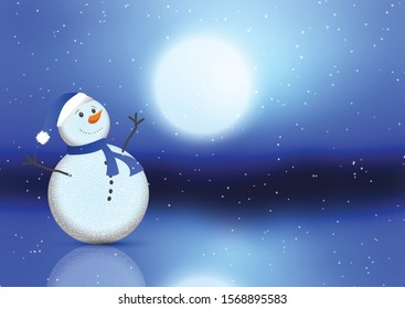 Christmas background with cute snowman against a moonlight sky