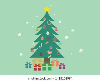Christmas background with decorated tree and gift boxes. Colorful flat presents for holiday. Modern design. Vector illustration