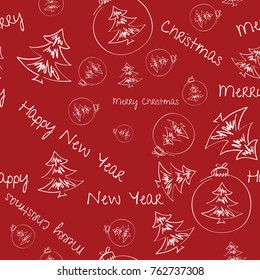 Christmas background with Christmas decorations, seamless tiling, great choice for wrapping paper pattern. Hand drawn.
