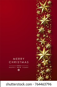 Christmas Background with Decorative Border made of Cutout Gold Foil Stars. Chic Christmas Greeting Card.