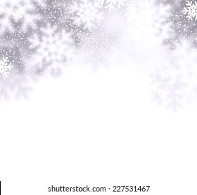 Christmas background with defocused snowflakes. Vector illustration.