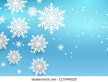 Christmas background design with 3D style snowflakes