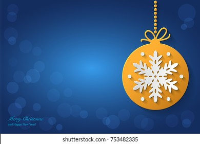 Christmas background design with christmas ball with white snowflake. Vector greeting illustration