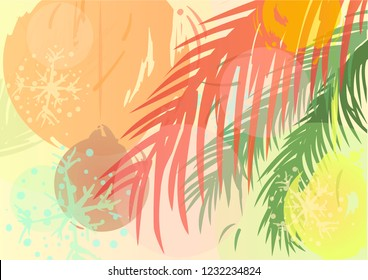 Christmas background drawn by brush in pastel colours. Vector illustration.