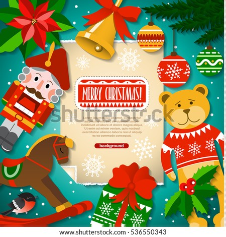 Christmas Background Christmas Elements Toys Decorations Stock