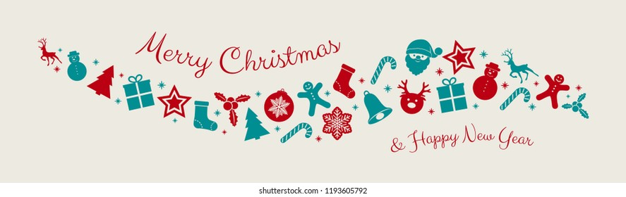 Christmas background with elements. Vector.