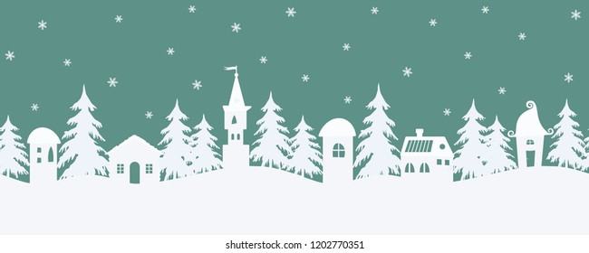 Christmas background. Fairy tale winter landscape. Seamless border. There are fantastic lodges and fir trees on a turquoise background. White silhouettes and snowflakes in the image. Vector