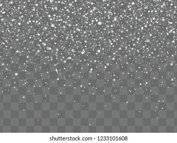 Christmas background with falling snow on transparent background. Shine winter holiday pattern. Vector illustration