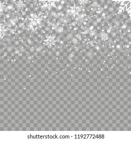 Christmas background with falling snowflakes. Vector.