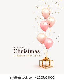 Christmas background. Festive background with helium balloons, gift box. Poster, banner happy anniversary. Realistic decorative design elements. Vector 3d object ballon with ribbon, pink, coral color.