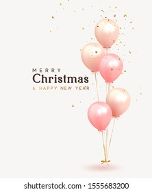 Christmas background. Festive background with helium balloons. Poster, banner happy anniversary. Realistic decorative design elements. Vector 3d object ballon with ribbon, pink and coral color.