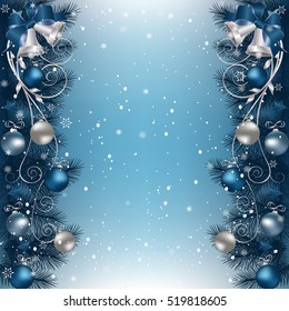 Christmas background with fir branch border with bells, ribbons and Christmas decorations.