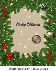 christmas background with fir branches and balls