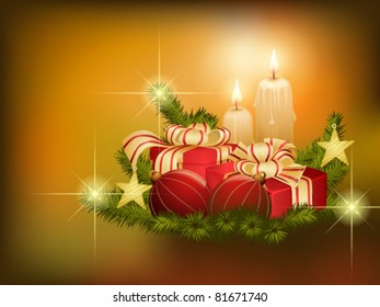 Christmas background with fir branches, baubles and candles