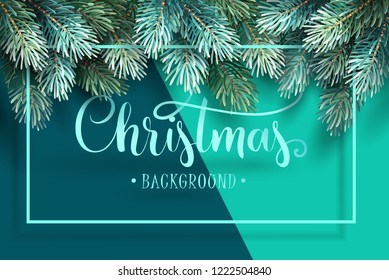 Christmas Background with Fir Branches and Handwriting Lettering. Vector Illustration
