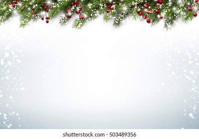 christmas background with fir branches and holly berries vector illustration