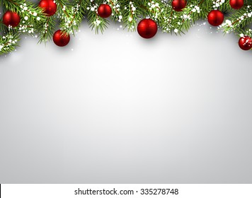 Christmas background with fir branches and red balls. Vector illustration.