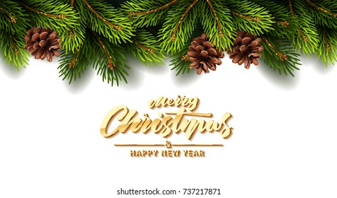 Christmas background with fir branches and snow. Vector illustration