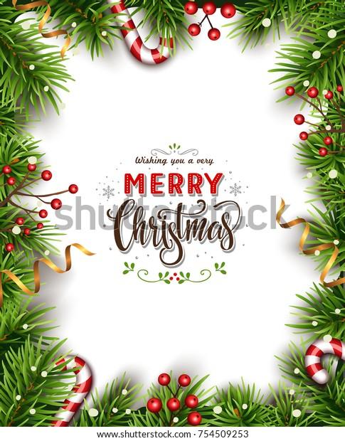 Christmas Branch Vector.Christmas Background Fir Branches Vector Illustration Stock