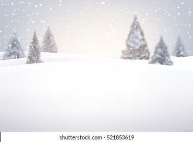 Christmas background with fir trees and snow. Vector illustration.