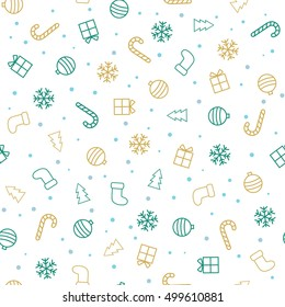 Christmas background. Flat christmas seamless pattern with stockings, trees, baubles, gifts, candy canes and snowflakes. Vector illustration