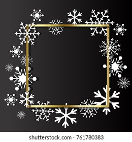 Christmas background. Frame made of snowflakes